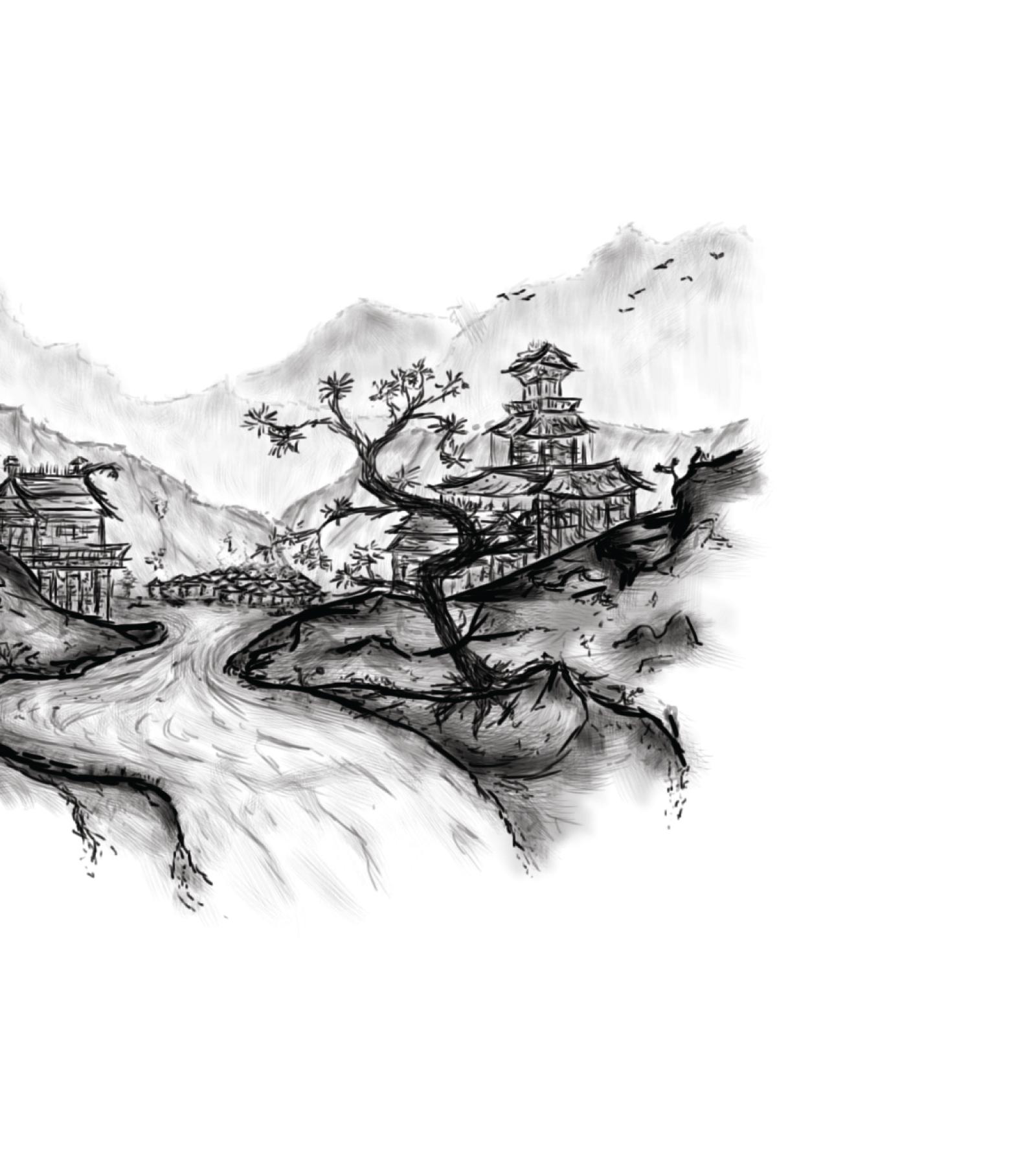 Image displaying Illustrative artwork of Japanese landscape for use on Singing Tree Gardens
