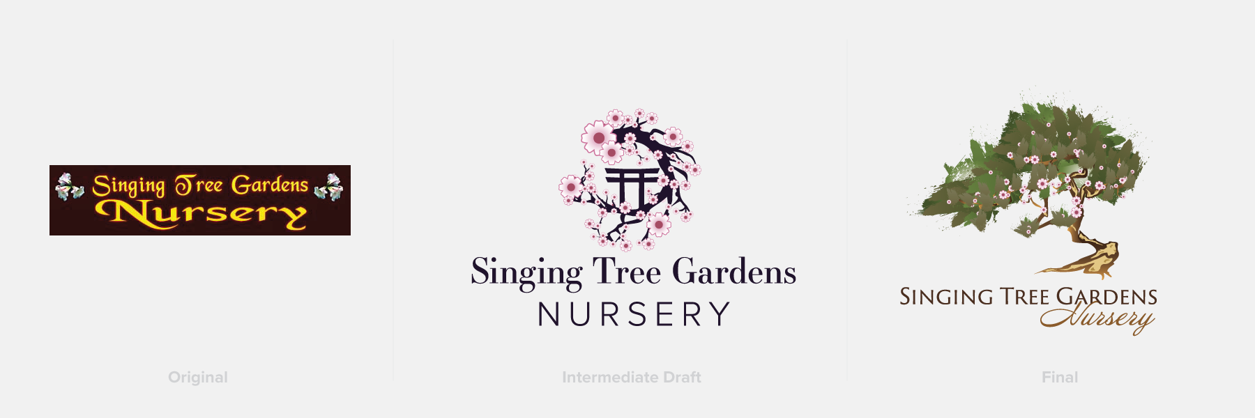 Image displaying original logo, a draft, and the final rendition of Singing Tree Gardens